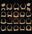 golden laurel wreath with golden ribbons vector image