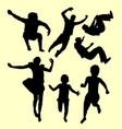 jumping children action silhouette vector image