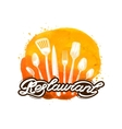 restaurant logo design template cooking vector image