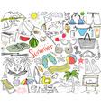 Summer season doodles elements Hand drawn sketch vector image