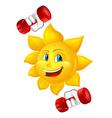 cartoon sun with dumbbells vector image vector image