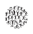 sport icon playing people black round design vector image