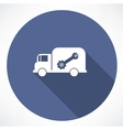 truck with wrench and nut icon vector image vector image