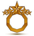 Royal golden geometric symbol with white copy vector image