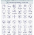 Network technology outline icon set vector image