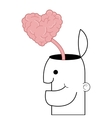 person with open head and heart shaped brain vector image