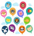Cute animal balloons vector image