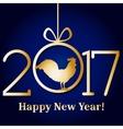 Golden glitter rooster on black background vector image
