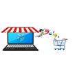store shop on notebook screen display vector image
