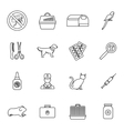 Veterinary icons set thin line style vector image