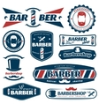 Barber Blue Red Labels vector image