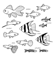 Aquarium hand drawn fish set isolated vector image