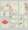 collection greeting cards with stylized roses and vector image