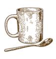 engraving mug and spoon vector image