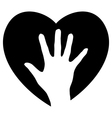 Helping Hand in the heart vector image