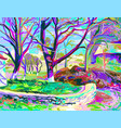 painting of natural village landscape vector image