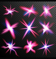 red stars bursts glow light effect swirl vector image