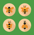 set icon bees Flat in style vector image