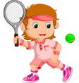 young girl playing tennis with a racket vector image