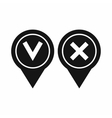 Tick affirmative and negative icon simple style vector image
