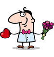 man with heart and flowers cartoon vector image vector image