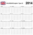Calendar 2014 English Type 22 vector image vector image