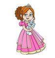 beautiful princess holding kitten on hands vector image vector image