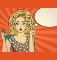 surprised pop art woman chatting on retro phone vector image