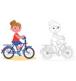 young biker girl isolated and coloring vector image