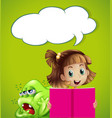 Speech bubble template with kid and monster vector image