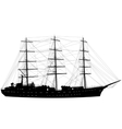 Ship sailing boat silhouette isolated on white vector image
