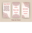 set of 3 beautiful vintage lace invitation cards vector image
