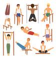 cartoon horizontal chin-up strong athlete man gym vector image