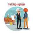 colorful building people template vector image