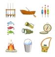 Fishing And Camping Equipment Set vector image