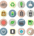 Flat Design Green Concept Icons vector image