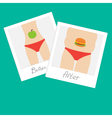 From skinny to fat woman Healthy unhealthy food vector image