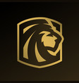 lion head gold logo emblem vector image