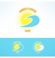 sun and wave logo Summer and surfing vector image