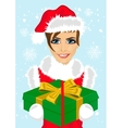 woman in christmas santa hat holding gift box vector image