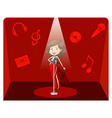Female singer in red background vector image