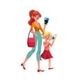 Young woman going on vacation with her son vector image