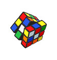 colorful 3d cube combination puzzle from 90s vector image