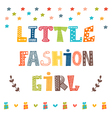 Little fashion girl card Cute graphic for kids vector image