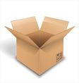 Empty cardboard box opened on white background vector image vector image