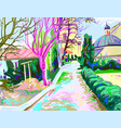 digital painting of rural landscape contemporary vector image