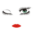 green eyes with long lashes winking red lips vector image