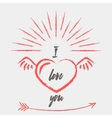 Happy valentines day card with heart and wings vector image