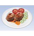 meat and vegetables on a plate vector image