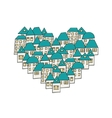 modern House in the form of heart on white vector image